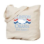 Clinton and Obama for America Tote Bag