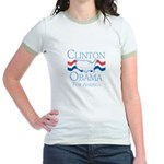 Clinton and Obama for America Jr. Ringer T-Shirt