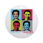 Clinton and Obama art Ornament (Round)
