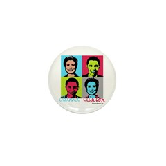 Clinton and Obama art Mini Button (100 pack)