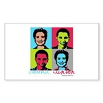 Clinton and Obama art Rectangle Sticker