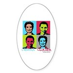 Clinton and Obama art Oval Sticker