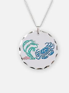 Blue Crab Graphic Design Necklace