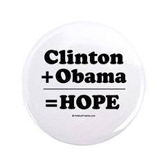 "Clinton + Obama = Hope 3.5"" Button (100 pack)"