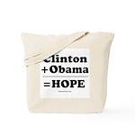 Clinton + Obama = Hope Tote Bag