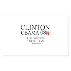 Clinton/Obama: The Dream Team Sticker (Rectangular