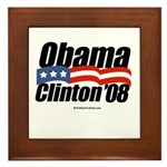 Obama Clinton 08 Framed Tile