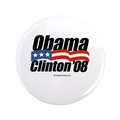 """Obama Clinton 08 3.5"""" Button (100 pack)"""