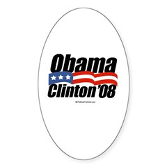 Obama Clinton 08 Oval Decal