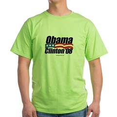 Obama Clinton 08 Green T-Shirt