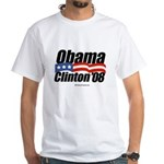 Obama Clinton 08 White T-Shirt