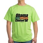 Obama Clinton 08 Green T-Shirt