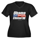 Obama Clinton 08 Women's Plus Size V-Neck Dark T-S