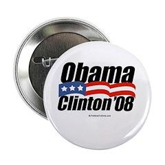"""Obama Clinton 08 2.25"""" Button"""