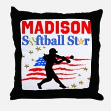 PERSONALIZE SOFTBALL Throw Pillow
