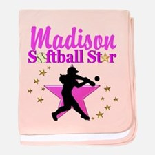 PERSONALIZE SOFTBALL baby blanket
