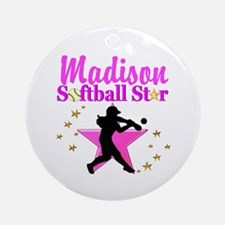 PERSONALIZE SOFTBALL Round Ornament