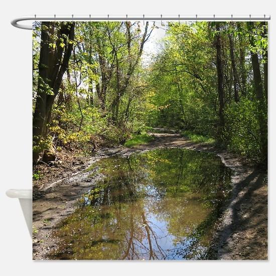 Wet watery trail scene Shower Curtain