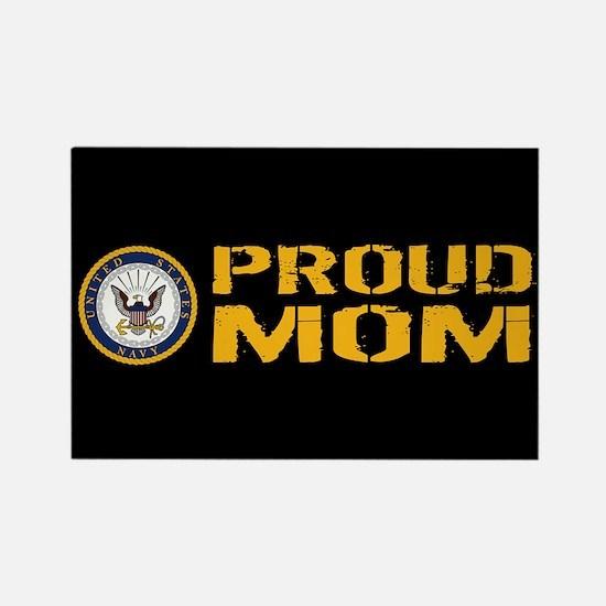 U.S. Navy: Proud Mom (Black) Rectangle Magnet