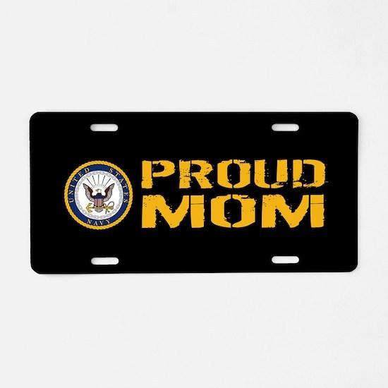 U.S. Navy: Proud Mom (Black Aluminum License Plate