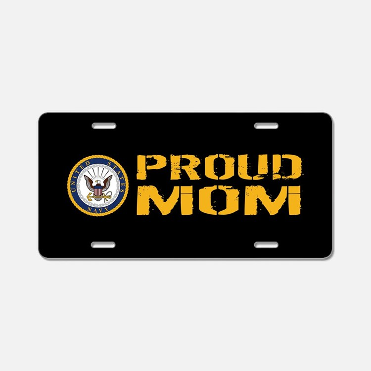 U.S. Navy: Proud Mom (Black Aluminum License Plate