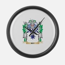 Rey Coat of Arms - Family Crest Large Wall Clock