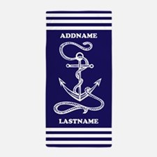 Navy Blue Anchor Nautical Personalized Beach Towel