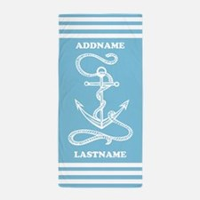 Blue Nautical Rope and Anchor Monogram Beach Towel