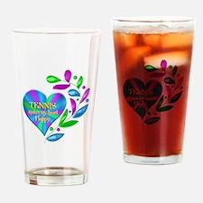 Tennis Happy Heart Drinking Glass