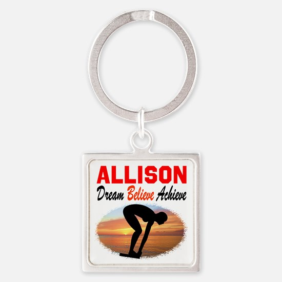 PERSONALIZE SWIMMER Square Keychain