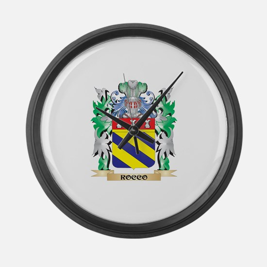 Rocco Coat of Arms - Family Crest Large Wall Clock