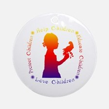 Protect Children Rights Christmas Ornament (Round)