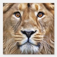"Realistic Lion Painting Square Car Magnet 3"" x 3"""