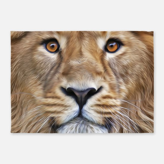 Realistic Lion Painting 5'x7'Area Rug