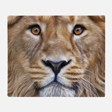 Realistic Lion Painting Throw Blanket
