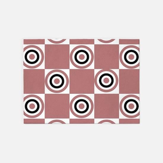 Black Rosy Diner Dots 5'x7'Area Rug