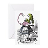 Alice flamingo Greeting Cards