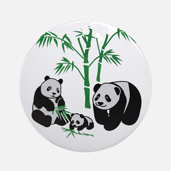 Panda Bear Family Round Ornament