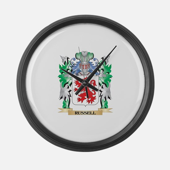 Russell Coat of Arms - Family Cre Large Wall Clock