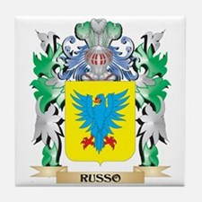 Russo Coat of Arms - Family Crest Tile Coaster