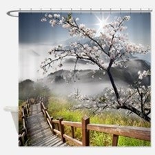 Japanese Cherry Landscape Shower Curtain
