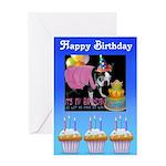 HAPPY BIRTHDAY BOSTON TERRIER LOOK Greeting Card