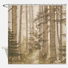 Brown Misty Forest Shower Curtain