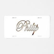 Gold Philip Aluminum License Plate