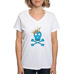 Blue Pirate Royalty Women's V-Neck T-Shirt