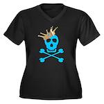 Blue Pirate Royalty Women's Plus Size V-Neck Dark