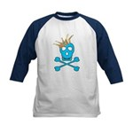 Blue Pirate Royalty Kids Baseball Jersey