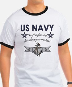 Navy Boyfriend Defending Free T-Shirt