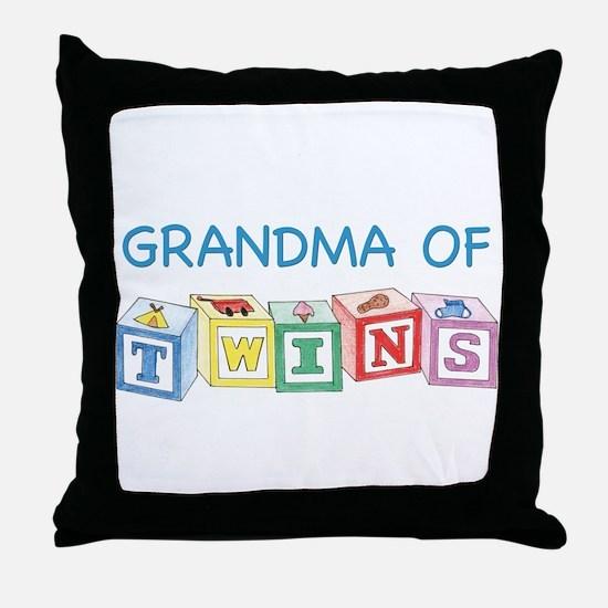 Grandma of Twins Throw Pillow