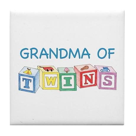 Grandma of Twins Tile Coaster